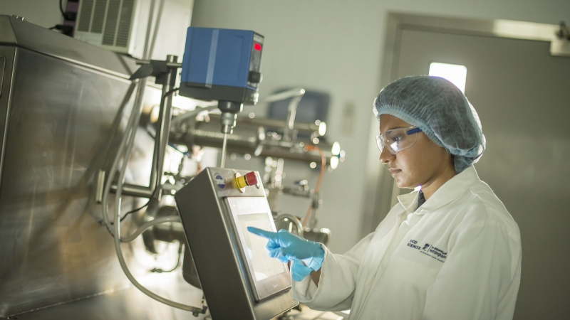 Scientist at work in the Food Innovation Centre on the University of Nottingham's Sutton Bonington campus