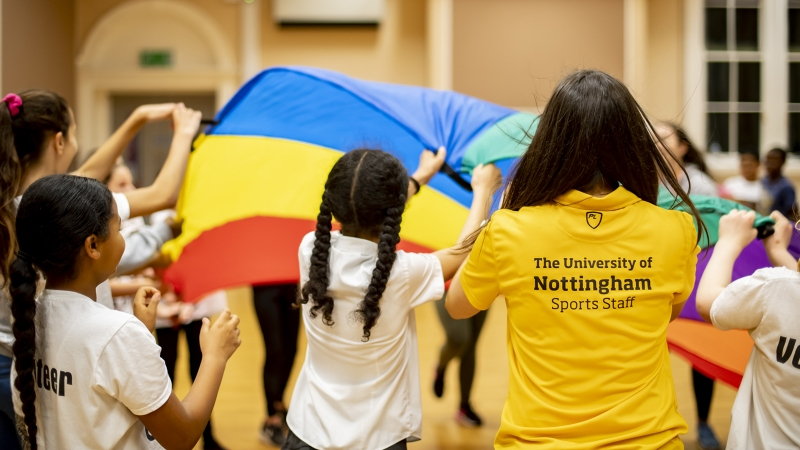 Student volunteers lead sporting activities with children from Forest Fields Primary School