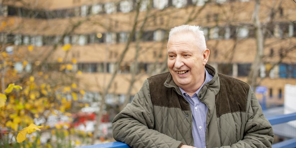 Malcom Graham, patient on the scarred liver pathway, outside The Queen's Medical Centre, Nottingham