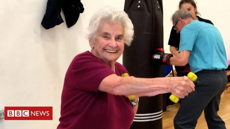 Dementia patients take part in an exercise class at the University of Nottingham